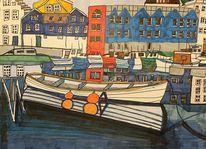 Häuser, Spiegelung, Hafen, Malerei