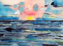 Wasser, Himmel, Sonnenuntergang, Romantisch