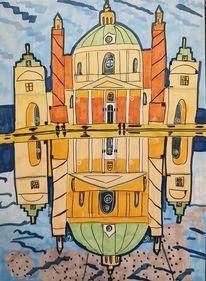 Karlskirche, Spiegelung, Wien, Wasser