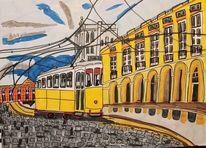 Stadt, Architektur, Straßenbahn, Schiene