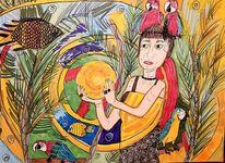 Urwald, Fische, Frau, Kugel