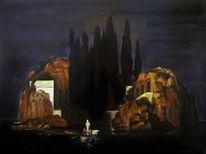 Malerei marcel heinze, Toteninsel, Arnold böcklin, Malerei
