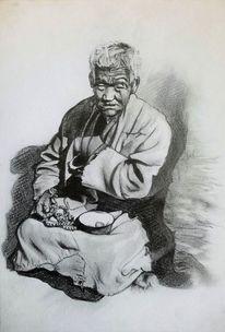 Bettler, Malerei marcel heinze, Buddhismus, Tibet