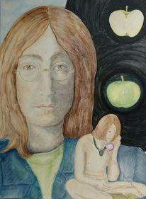 Portrait, Augen, Apfel, Malerei