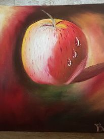 Spiegelung, Apfel, Wasserperlen, Malerei