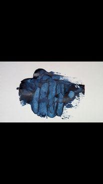 Festhalten, Hand, Blau, Malerei