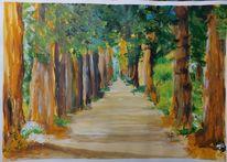 Baum, Weg, Malerei,
