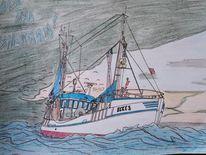 Welle, Wind, Fischkutter, Zeichnungen