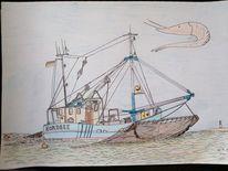 Leuchtturm, Wattenmeer, Krabbenkutter, Zeichnungen