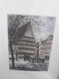 Kolloriert, Auf papier, Hildesheim marktplatz, Pinnwand