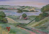 Landschaft, Rügen, Mönchgut, Aquarell