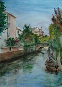 Lido di venezia, Italien, Aquarellmalerei, Aquarell