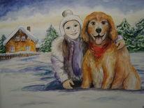 Winter, Mädchen, Hund, Aquarell