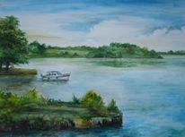 Mecklenburg, Seeufer, Aquarellmalerei, Priepert