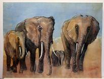 Mutter, Elefant, Aquarellmalerei, Afrika