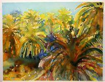 Palmen, Landschaftsmalerei, Massai, Savanne