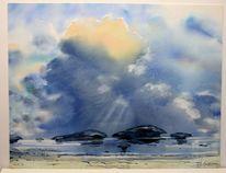 Afrika, Aquarellmalerei, Landschaft, Landschaftsmalerei