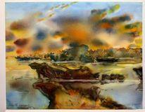 Abendlicht, Aquarellmalerei, Abendhimmel, Landschaftsmalerei
