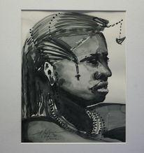 Krieger, Aquarellmalerei, Afrika, Massai