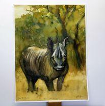 Nashorn, Afrika, Aquarellmalerei, Landschaft