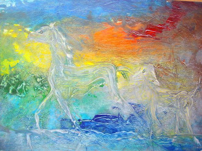 Bewegung, Licht, Zerfließen, Pferde, Frottage, Farben
