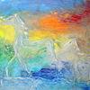 Licht, Frottage, Zerfließen, Pferde