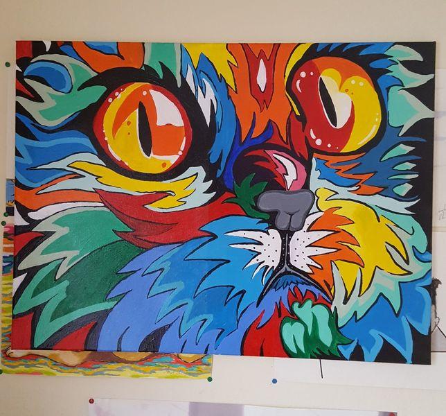 Katze, Fantasie, Bunt, Acrylmalerei, Farben, Pop art