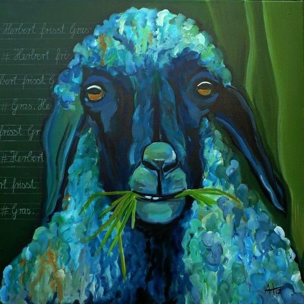 Blau, Acrylmalerei, Schaf, Schrift, Tiere, Schule
