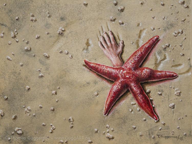 Seestern, Strand, Hand, Naturestrikesback, Rot, Meeresfrüchte