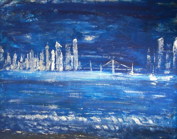 Stadt, Brücke, Nacht, Meer, Malerei