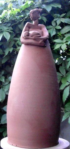 Katze, Ton, Figur, Skulptur, Keramik, Kunstwerk