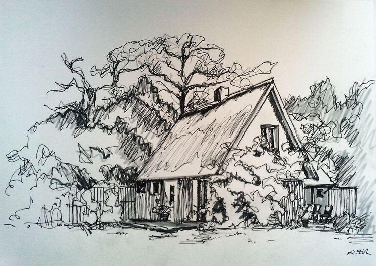 Haus, Natur, Kleine flitzer, Landhaus, Spitzdach, Landschaft
