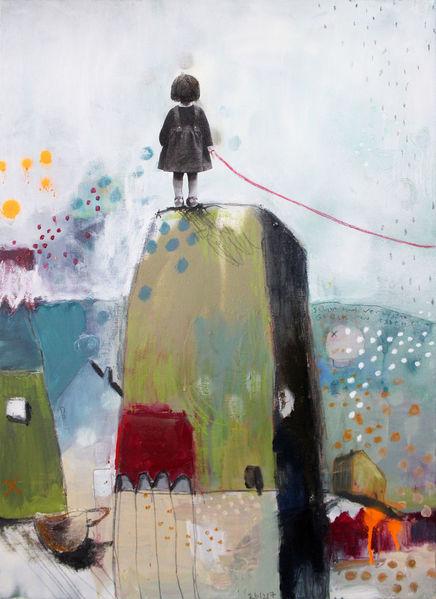 Mädchen, Gemeinschaft, Ramona zirk, Kuscheltier, Rumstehen, Acrylmalerei