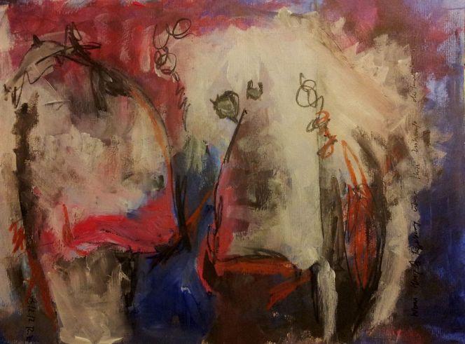 Rot, Wachspastelle, Blau, Zukunft, Malerei, Surreal