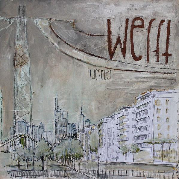 Oxidation, Grafik, Frankfurt am main, Weseler werft, Blick, Frankfurt mainufer