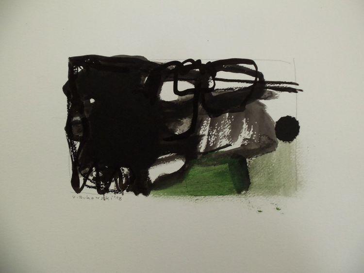 Schwarz, Weiß, Landschaft, Grün, Abstrakt, Malerei