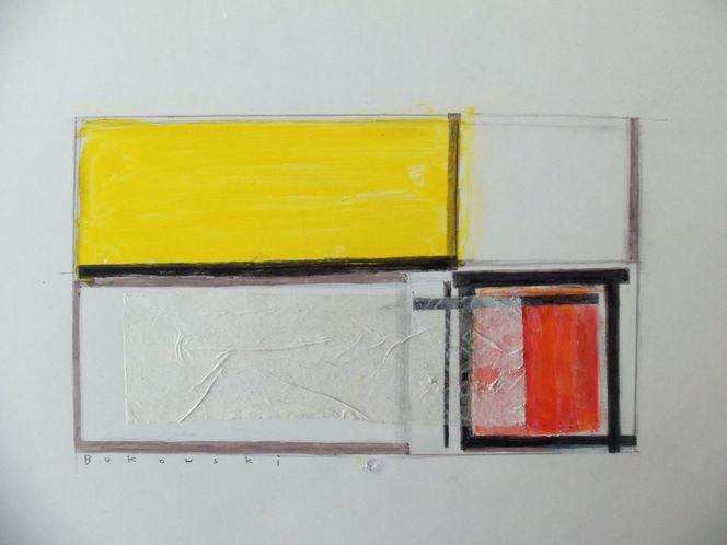 Geometrische formen, Gelb, Orange, Schwarz weiß, Mondrian mon amour, Abstrakt