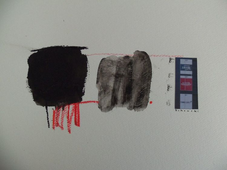 Rot, Grau, Collage, Schwarz, Malerei