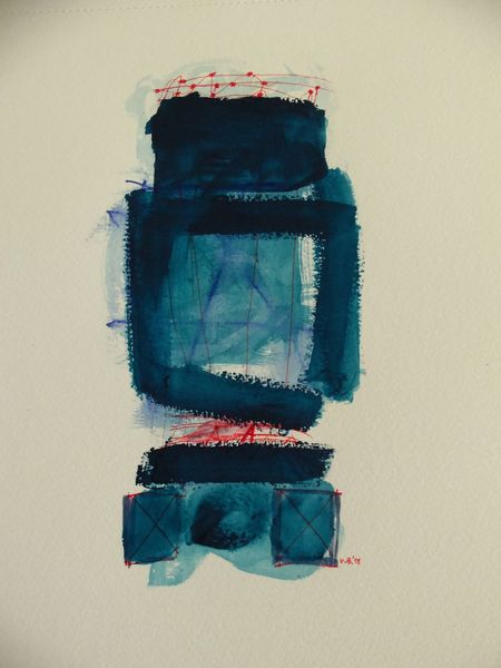 Abstrakt, Blau, Pink, Malerei