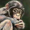 Malerei, Fell, Acrylmalerei, Schimpanse