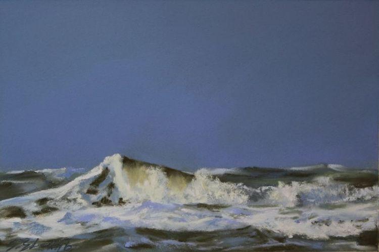 Welle, Nordseewellen, Pastellmalerei, Gischt, Kreide, Wasser