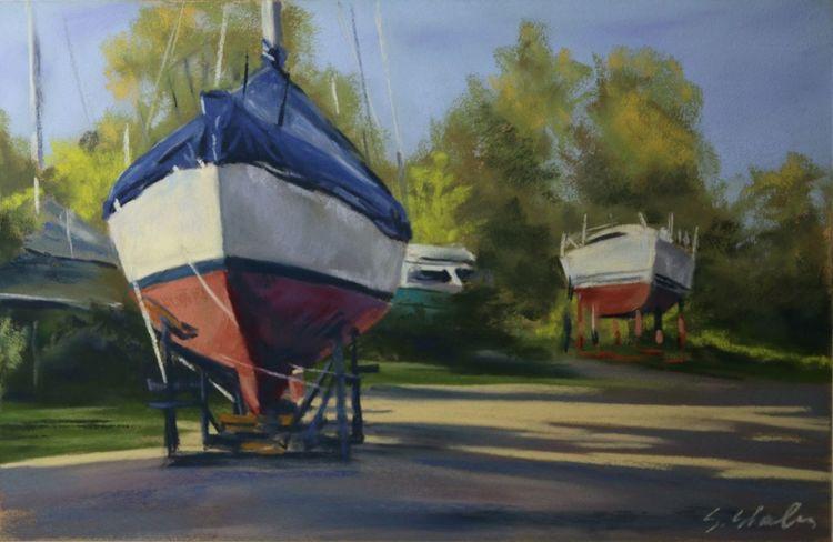 Werft, Meer, Boot, Segelboot, Schiff, Malerei