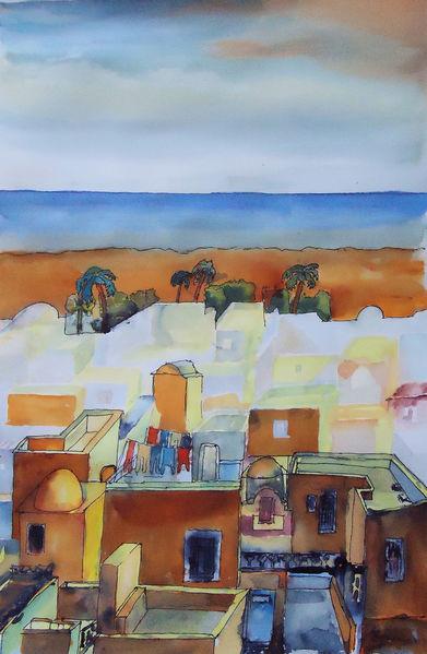 Tunesien, Hammamet, Altstadt, Afrika, Aquarellmalerei, Mittelmeer