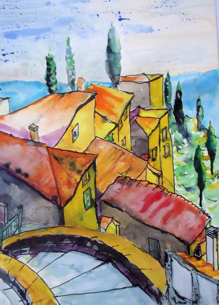 Provence, Vaucluse, Frankreich, Bergdorf, Aquarell