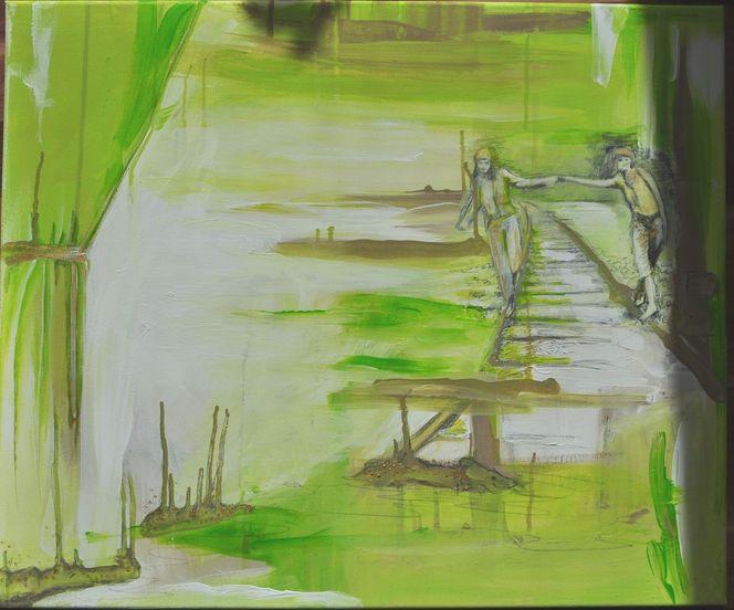 Sumpf, Mädchen, Landschaft, Grün, Schlange, Moor