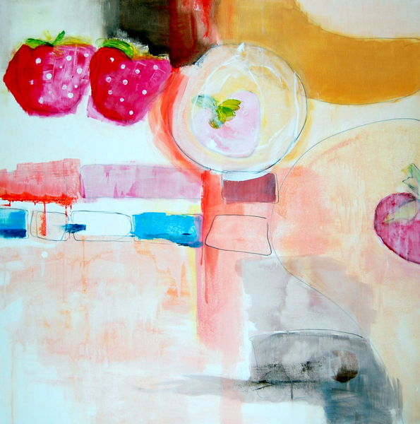 Farben, Fantasie, Erdbeeren, Malerei, Abstrakt, Korb