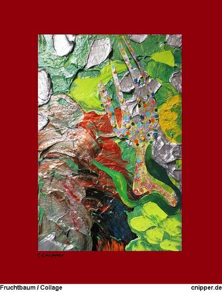 Grün, Collage, Farben, Fruchtbaum, Baum, Mischtechnik