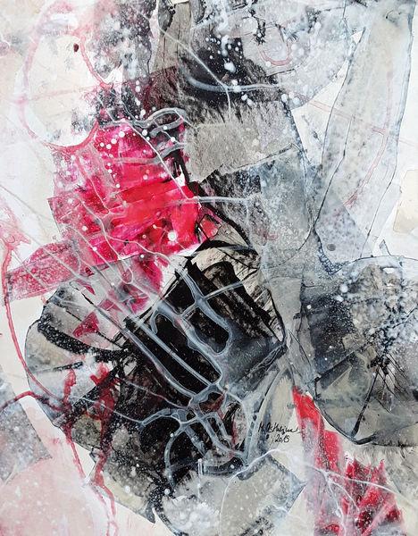 Grau, Schwarz, Beige, Abstrakte malerei, Rot, Malerei