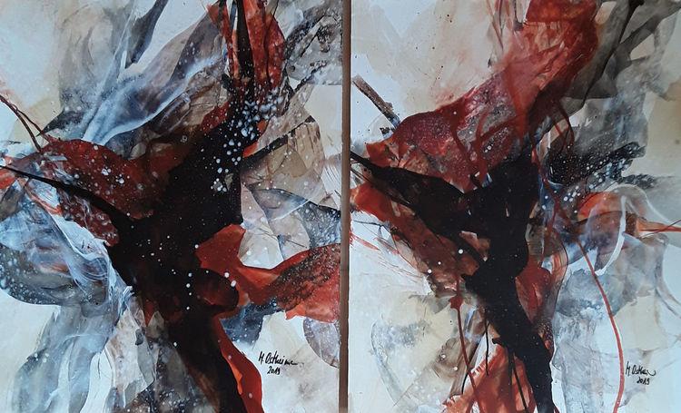 Braun, Schwarz, Kupferfarben, Abstrakte malerei, Beige, Malerei