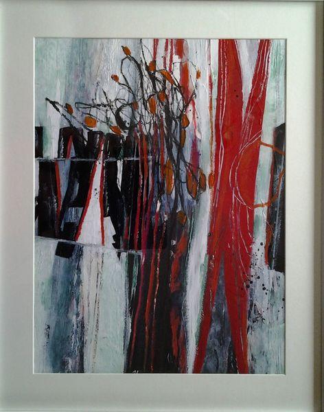 Abstrakte malerei, Linie, Blüte, Rot, Blumen, Grün